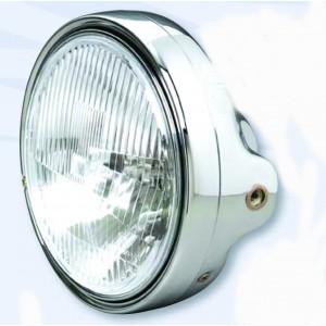 Světlo přední kulaté komplet, klasická optika, chrom - 200 mm