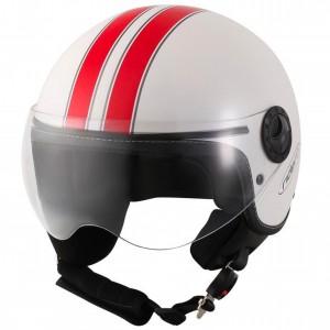 Otevřená helma RIDERO bílo-červená